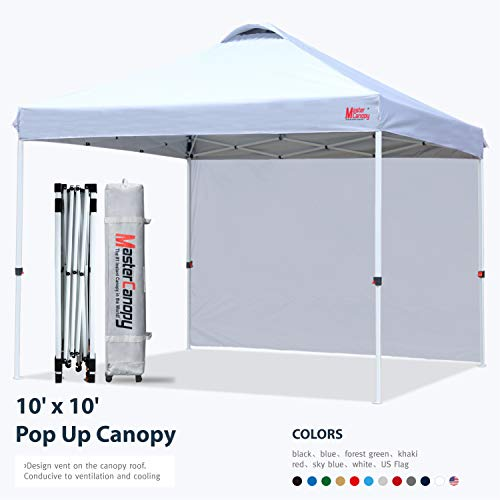 MASTERCANOPY Patio Pop Up Instant shelter 10x10 Beach Canopy Better Air Circulation Canopy with Wheeled Backpack Carry Bag (White)