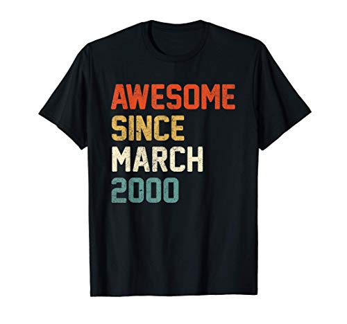 Awesome Since March 2000 21st Birthday Gift 21 Year Old T-Shirt