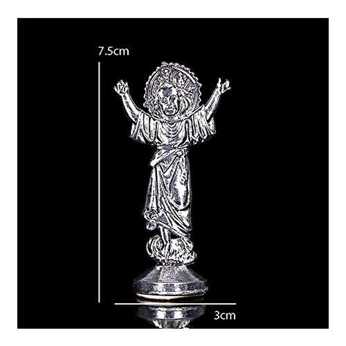 LUOSI Religieuze auto decoratie Jezus Christus Heilige Kruis Standbeeld Kruis Decoratie Jezus Standbeeld Kruis En Basis Standbeeld Image7.5x3cm Decoratieve Accessoires (Metaal Kleur: 1)