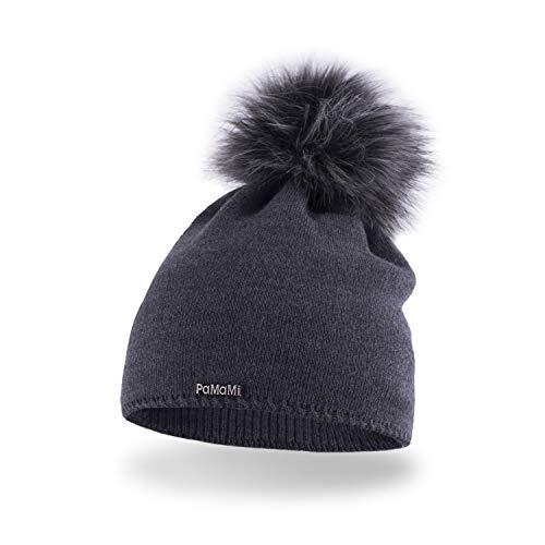 PaMaMi Winter Damen Mütze mit Perlen warme Wintermütze mit kunstfell Bommel - Slouch Beanie Damen - Bommelmütze für Damen - Fleece gefütterte Damenmütze (Dunkelgrau)