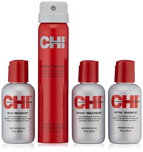 CHI Shine & Moisture Travel Kit with Infra Shampoo, Infra Treatment, Silk Infusion and Infra Texture Hair Spray