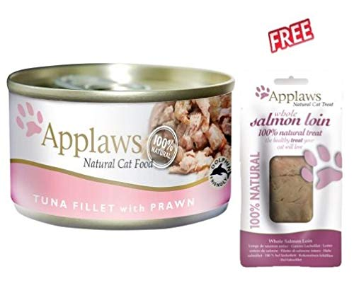 PREMIUM Applaws Cat Food Cans Tuna Fillet with Prawn Mixed Pack in Broth 24 x 70g Moist Food for Catss 100% Natural Without Artificial Preservatives