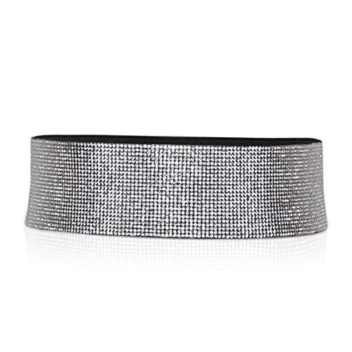 LumiSyne Mode Ledergürtel Für Damen Taillengürtel Elastisch Ohne Schnalle Glänzender Diamant Strass Verziert Breit Hüftgurt Kleider Gürtel(Breit)