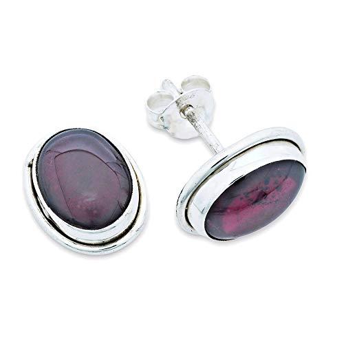 Ohrstecker Ohrringe Silber 925 Sterlingsilber Granat rot Stein (Nr: MOS 47-02)