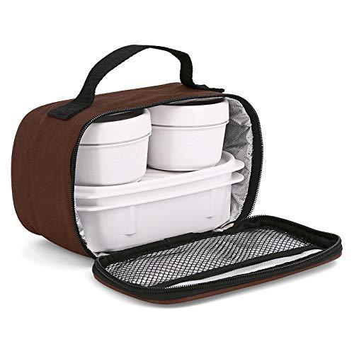 Urban Food MiniPlus - Bolsa Térmica Porta Alimentos con 3 Tápers Herméticos Incluidos, 1 Ovalado de 0.5L más 2 Redondos de 0.2L, Medidas 21.5 x 9 x 12 cm (Marron Opak)