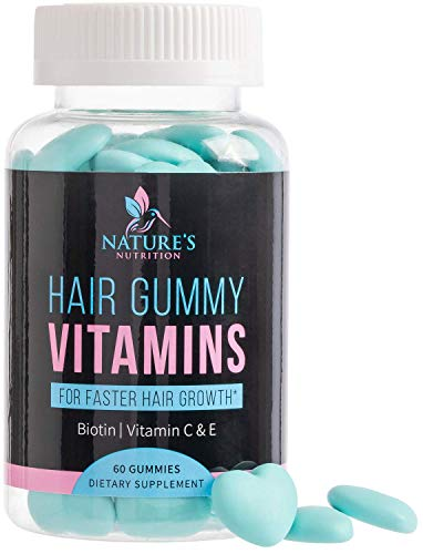 Hair Gummy Vitamins with Biotin 5000 mcg, Vitamin C & E to Support Hair Growth, Premium Pectin-Based, Non-GMO, to Support Strong, Healthy Hair & Nails. Blue Berry Supplement - 60 Gummies