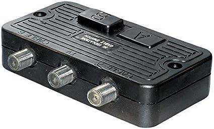 Conmutador de 2 unidades para instalaciones BK y SAT F hembra, 2 conectores F hembra.
