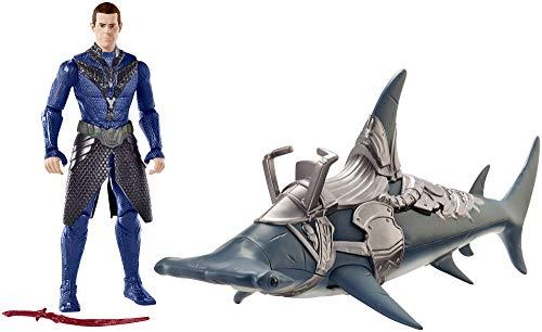 Mattel FYR96 DC Aquaman Vulko 15 cm Figur mit Hammerhai und Rüstung, Spielzeug Actionfiguren ab 4 Jahren