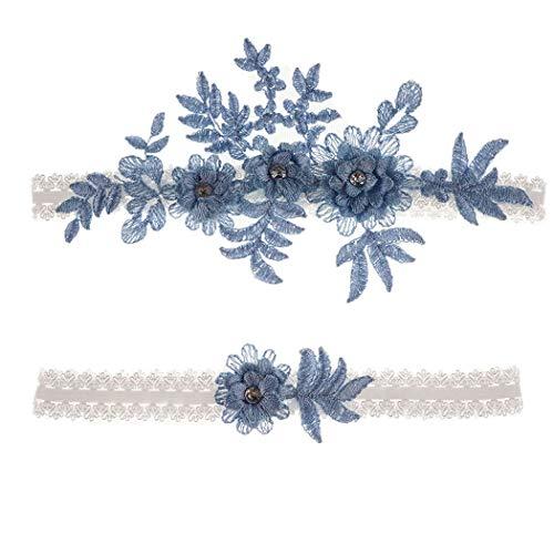 """Wedding Garters Set Lace Bridal Garter Stretchy Floral Garter for Bride Blue White (Blue-3, M(16""""-20.5""""))"""