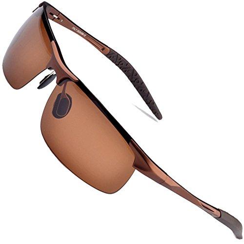 996d404e2f MOTELAN Men s Polarized Sunglasses for Driving Fishing Golf Metal Glasses  UV400 Brown