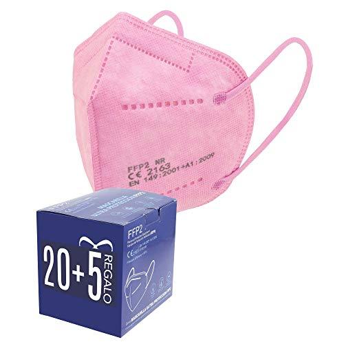 Mascarillas FFP2. 20 + 5 de Regalo. Mascarillas ultra protección. 5 capas. Homologada. Certificado CE EN149:2001+A1:2009 FFP2 NR. Caja 20 + 5 Unidades de REGALO. PACK PAULA ALONSO (25 ROSAS)
