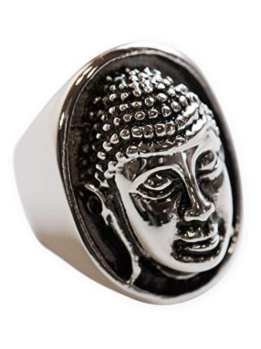 Fly Style Grosser Buddha Ring Siegelring aus 316L Edelstahl für Damen und Herren, Ring Grösse:19.1 mm