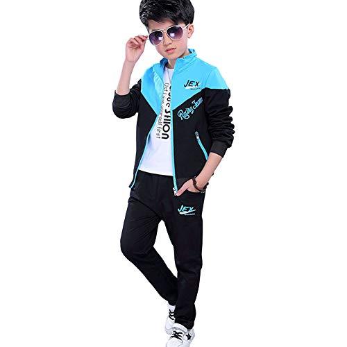 L PATTERN Kinder Jungen 3tlg Jogginganzug Trainingsanzug Sportanzug Freizeitanzug Outfit-Set Bekleidungsset Zweiteiler(Sweatshirt+Sweathose+T-Shirt), Blau, 122-128