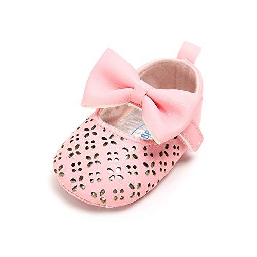 Matt Keely Baby Mädchen Prinzessin Bowknot Schuhe Neugeborenes Kind Weiche Sohle PU Turnschuhe (12-18 Monate, Pink 2)