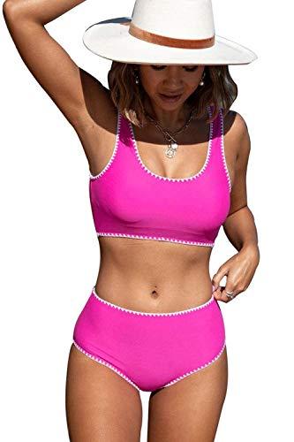 Beachsissi Conjunto de bikini de cintura alta para mujer con ribete de ganchillo blanco