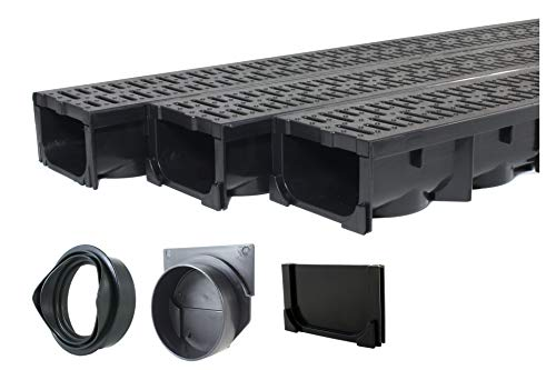 Drainage Trench - Channel Drain With Grate - Black Plastic - 3 x 39' - (117' Total Length)