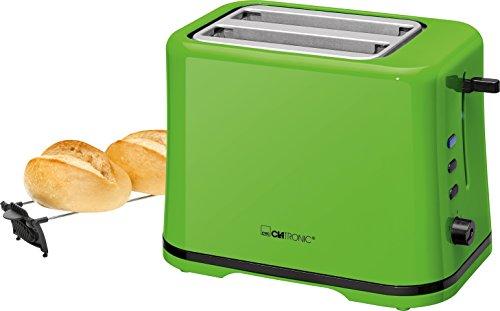 Clatronic TA 3554 Kompakter 2-Scheiben Toaster, Brötchenaufsatz (abnehmbar), Aufwärm, Auftau Schnellstoppfunktion, stufenlos einstellbarer Bräunungsgrad, Krümelschublade, Grün