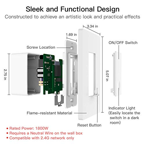 2 Pack Smart Dimmer Switch for Dimmable LED Lights, WiFi Light Switch Compatible with Alexa and Google Home, Single Pole Only, Smart Life APP, Neutral Wire Required - White