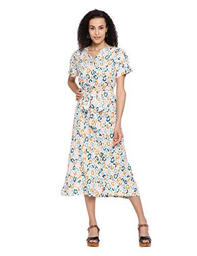 oxolloxo Women's V-Neck Graphic Print Midi Dress (Multicolored_Medium)