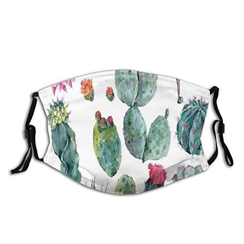 Fiber Five Protect Cover Bandana Balaclavas| Desert Botanic Herbal Cartoon Like Cactus Plant Flower with Spikes Print|for Men & Women |Reusable Washable Cover