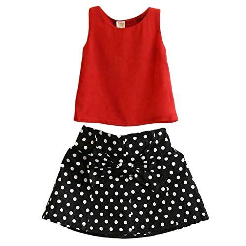 Conjunto de ropa de verano para bebs y nias con camiseta+vestido de falda, lote de 2 unidades.