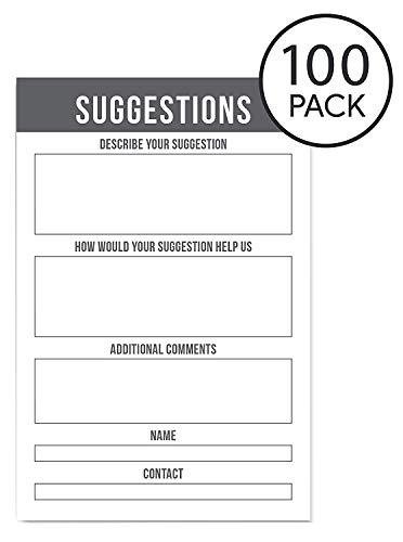 MCB Suggestion Cards for Home and Office 100 Count Suggestion Box Cards for Suggestion Boxes - Improvement Suggestion Cards - 100 Cards Per Pack - 4 x 6 Inches