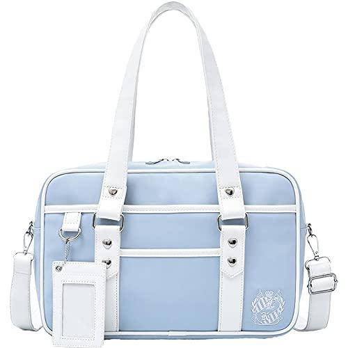 Aiqing Bolso de hombro de uniforme japonés JK, bolso de imitación de PU, bolso escolar para niña Lolita, mochila de escuela secundaria de anime para niñas, corazón
