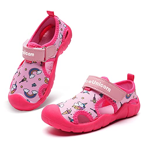 Sandalias para niños y niñas, puntera cerrada, zapatos de agua para niños, deportes de verano, cómodos al aire libre, tenis ligeros, color, talla 21 EU