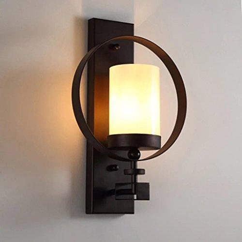 JSJ - Américain lampe de mur de fer rétro Living Room Backdrop Éclairage décoratif Simple tête Creative personnalité couloir balcon allée lumière