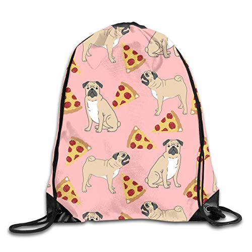shenguang Pug Pizza Pink Drawstring Sports Backpack Gym Yoga Sackpack String Bag Travel Storage Sack For Women And Men Suitable For School Swim Running Beach Outdoor