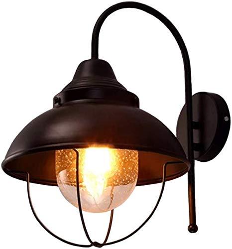 YLBZJ Lámpara de Pared Exterior de la Pared lámpara de la Parrilla lámpara de la lámpara de Pared de Cristal del Metal Forma la lámpara de Pared al Aire Libre Sola lámpara Retro Industrial,Black