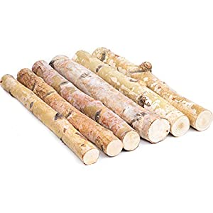 """KINGCRAFT 6 Pack Small Birch Logs for Fireplace Unfinished Wood Crafts DIY Home Decorative Burning(Logs:1.6""""-2.4"""" Dia. x 16"""" Long)"""