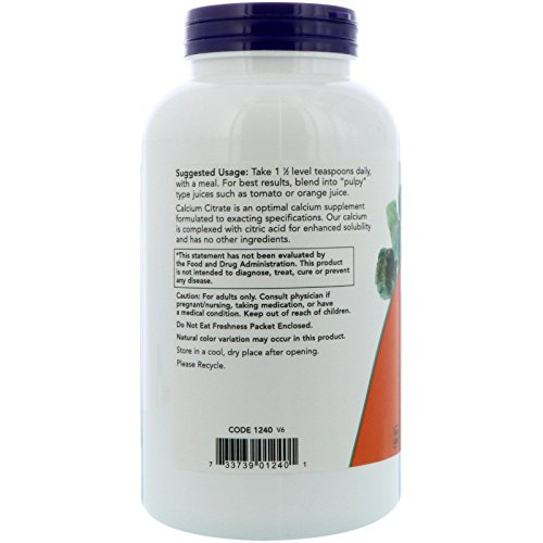 NOW Supplements, Calcium Citrate Powder, Highly Bioavailable Calcium, Supports Bone Health*, 8-Ounce