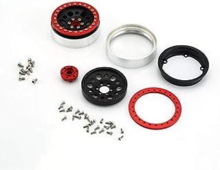 Triamisu 2Pcs 2.2inch Llanta de aleación de Aluminio Llanta Cubos de Rueda Beadlock para 1/10 RC Crawler Car TRX4 Defender Bronco RC4WD D90 - Rojo