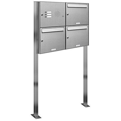AL Briefkastensysteme 3er V2A Edelstahl Standbriefkasten mit Klingel rostfrei als 3 Fach Briefkastenanlage in Postkasten Briefkasten Design modern