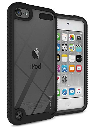 iPod Touch 7 Case, iPod Touch 6 Case, iPod Touch 5 Case with Full-Body Armor Hybrid Rugged Military Shockproof Hard Cover Protective Bumper Phone Case for Apple iPod Touch 7th/6th/5th Gen -Black