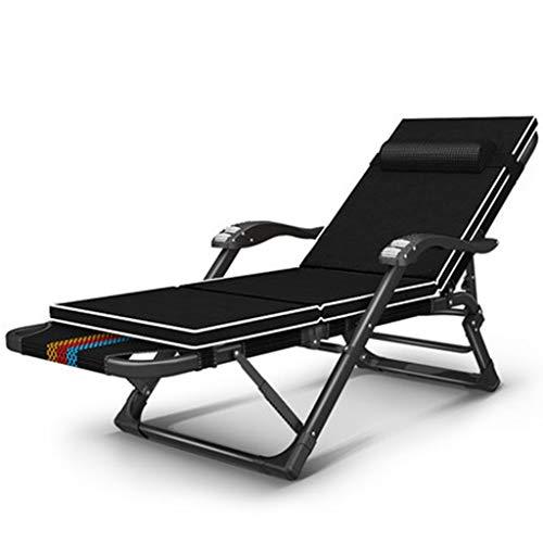 Klappbett Hause Balkon Recliner Büro Mittagspause Klappbett Einzelner Stuhl Tragbare Einfache Zurück Faule Stuhl Outdoor Klappbett (Color : Black, Size : 178 * 67 * 25CM)