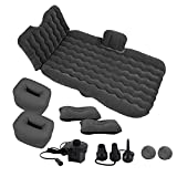 Zone Tech Car Inflatable Air Mattress Bed with Back Seat – Pump Kit Premium Quality- Vacation Camping-Sleep Blow Up Pad Car Bed Back Seat Inflatable Air Mattress with 2 Air Pillows