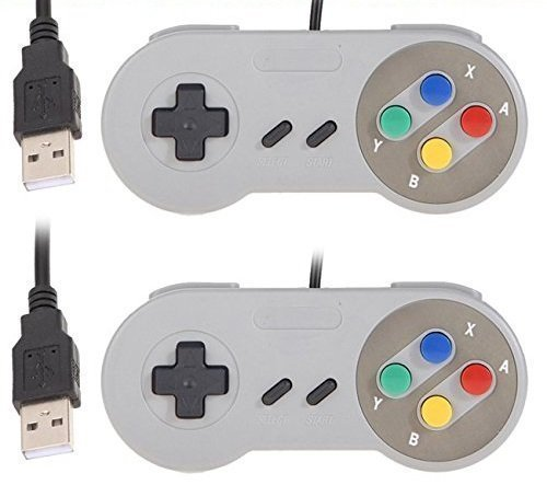 YUMQUA SNES USB Controller, 2 Pack USB Wired Retro Classic Game Controller Joypad Game Pad for Windows Laptop PC Mac and Raspberry Pi System