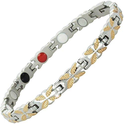 Damen Magnet-Armband groß klein Größe Damen Gesundheits-Armband für Schmerzen Arthritis Armband Infrarot Germanium Negative Ionen-Armband -BFRG 20 cm / 7.9 in rose gold