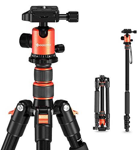 "GEEKOTO 58"" Ultra Compact Lightweight Aluminum Tripod with 360° Panorama Ball Head for DSLR, Monopod, Tripod for OSMO, Ideal for Vlog, Travel and Work"