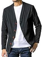 FTELA(フテラ) メンズ カーディガン ジャケット セーター 羽織 シンプル 無地 長袖 ボタン 春夏秋冬 ブラック XL