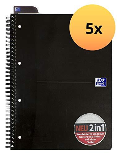 OXFORD 100050231 Collegeblock Smart Black 5er Pack A4+ KarLi = kariert und liniert 70 Blatt schwarz Notizblock Schreibblock Ringblock