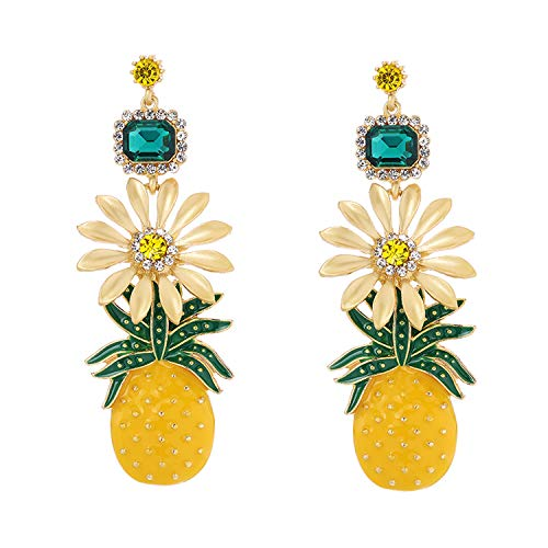 Temperament Long Metal Hollow Flower Pineapple Personality Girl Student Fruit Earrings With Accessories,Image