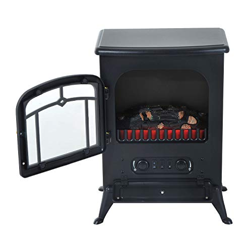 Fireplaces New Black,750W /1500W Adjust Electric Free Standing Heater Wood Fire...