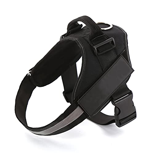 Black Dog Harness, No-Pull Pet Vest Harness, Reflective Breathable and Adjustable Pet Halters with Nylon Handle for Small Medium & Large Dogs - No More Pulling, Tugging or Choking