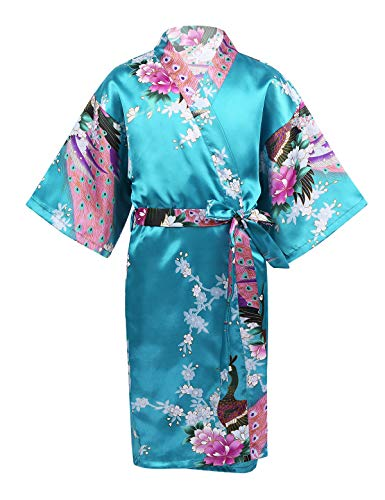 MSemis Bata de Kimono para Niña Albornoz Seda Satén Kimono Estampados Flores Ropa de Dormir Japonesa Manga Media Camisón Larga Pijama Turquesa 3-5 Años