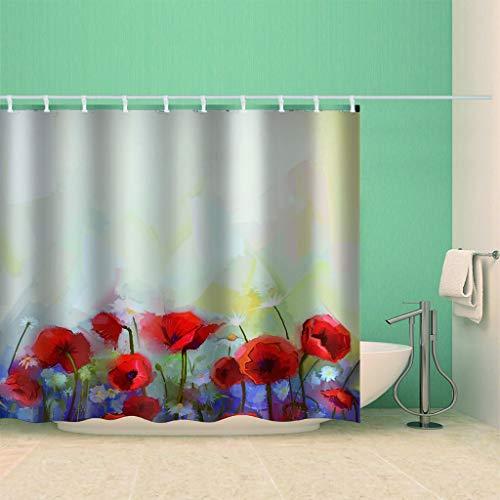 HBZZCL 3D Duschvorhänge Distel Wasserdicht Stoff Fabrik Wohnaccessoires 12 Haken-150(W) X180(H) cm
