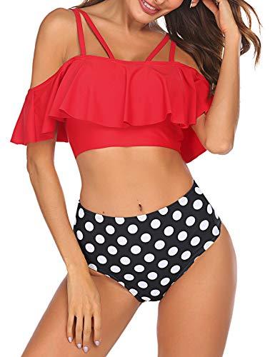 Ekouaer Bikini Damen Set Retro Sätze Bademode Rüschen Toher Taille Badeanzug Zweiteilige Strandkleidung,rot,l