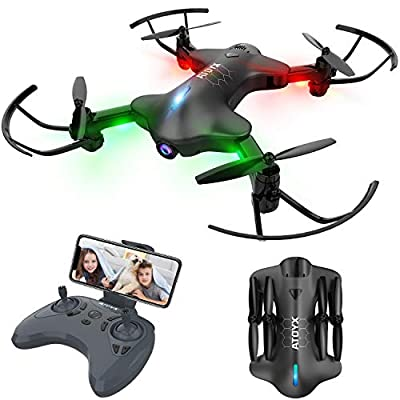 ATOYX WiFi FPV 720P HD Camera,Real-Time Video Portable Drone wtih App Control,Headless Mode,3D Flip,One Button Take Off/Landing,Suitable for Kids and Beginners